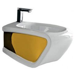 Биде подвесное Hidra Ceramica Hi-line белое с золотом