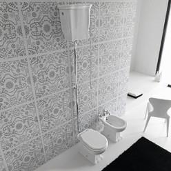 Унитаз Hidra Ceramica Ellade черный с высоким бачком, выпуск в стену