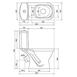 Унитаз-компакт Santek Алькор WH302140 косой с 2-х кнопочной арматурой+ сиденье дюропласт, антивсплеск
