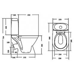 Унитаз-компакт Santek Римини WH302130 косой выпуск , сиденье дюропласт