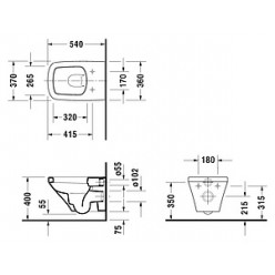 Унитаз подвесной Duravit DuraStyle 25360900001-WG антигрязевое покрытие