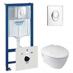 Комплект Унитаз подвесной Jacob Delafon Presquile E4440 + Система инсталляции для унитазов Grohe Rapid SL 38750001 4 в 1 с кнопкой смыва