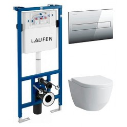 Комплект Система инсталляции для унитазов Laufen Lis CW1 8.9466.0 + Кнопка смыва Laufen Lis 8.9566.1.004.000.1 хром + Крышка-сиденье Laufen Pro 9695.