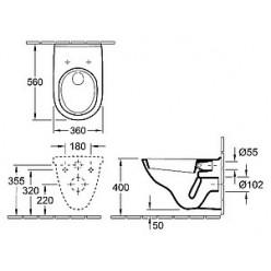 Комплект Villeroy & Boch O Novo 5660H101 унитаз подвесной + система инсталляции для унитазов Tece TECEbase