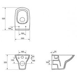 Комплект Унитаз подвесной Cersanit Carina new clean on + Система инсталляции для унитазов Grohe Rapid SL 38775001 4 в 1 с кнопкой смыва