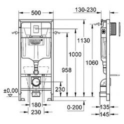Комплект Система инсталляции для унитазов Grohe Rapid SL 38775001 4 в 1 с кнопкой смыва + Крышка-сиденье IFO Special RP706011300 с микролифтом + Чаша