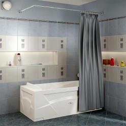 Карниз Г-образный (1500x750 мм) для шторки на прямоугольную ванну