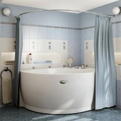 """Карниз Chrome для шторки на ванну """"Бергамо"""""""