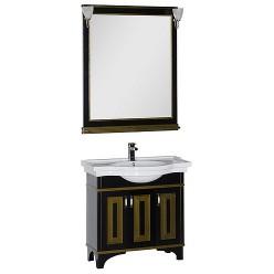 Мебель для ванной Aquanet Валенса 90 черный краколет/золото