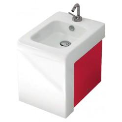 Биде напольное ArtCeram LaFontana LFB004 01;51 белое с красным
