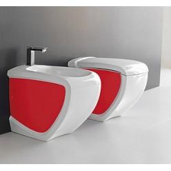 Биде напольное Hidra Ceramica Hi-line белое с красным