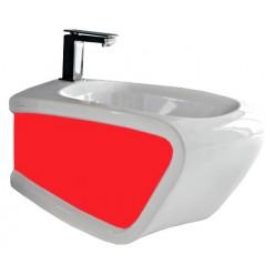 Биде подвесное Hidra Ceramica Hi-line белое с красным