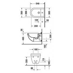 Биде подвесное Duravit Starck 3 228015 антигрязевое покрытие