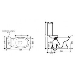 Унитаз-компакт Disegno Ceramica Paolina PA00300001