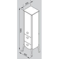 Шкаф-пенал Aquanet Мадонна белый с кристаллами Swarovski
