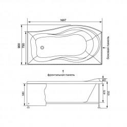 Акриловая гидромассажная ванна Борнео (Borneo) 170×90 левая