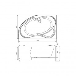 Акриловая гидромассажная ванна (форсунки Шампань) Капри (Capri) 160×100 левая