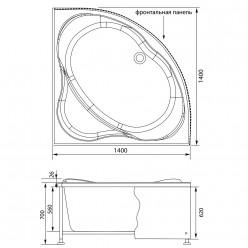 Акриловая гидромассажная ванна (форсунки Шампань) Палау (Palau) 140×140