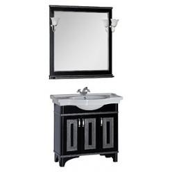 Зеркало Aquanet Валенса 90 черный краколет/серебро