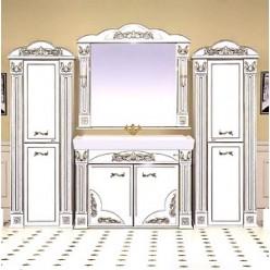 Зеркало Misty Барокко 120 белое, патина