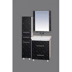 Зеркало Misty Гранд Lux 70 черно-белая кожа cristallo