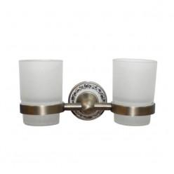 Настенный держатель-стаканчик двойной Bronze
