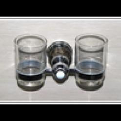 Настенный держатель-стаканчик двойной (chrome)