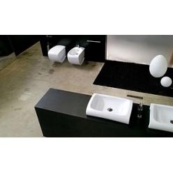 Биде напольное Hidra Ceramica Hi-line белое с серебром