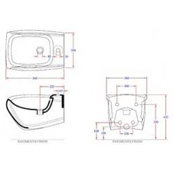 Биде подвесное Hidra Ceramica Hi-line белое с серебром