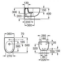 Комплект Биде подвесное Roca Meridian 357245000 + Система инсталляции для биде Geberit Duofix 111.520.00.1 + Крышка для биде Roca Meridian 8062A2004