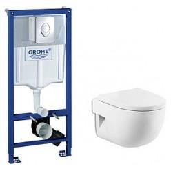 Комплект Система инсталляции для унитазов Grohe Rapid SL 38721001 3 в 1 с кнопкой смыва + Крышка-сиденье Roca Meridian 8012AC004 с микролифтом + Чаша
