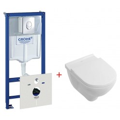 Комплект Унитаз подвесной Villeroy & Boch O'Novo 5660 H101 alpin + Система инсталляции для унитазов Grohe Rapid SL 38750001 4 в 1 с кнопкой смыва