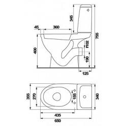 Унитаз-компакт Cersanit Eko 25 Е011 с микролифтом