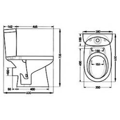 Унитаз-компакт Santek Анимо WH302132 прямой с 2-х кнопочной арматурой+ сиденье дюропласт
