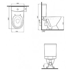 Унитаз-компакт Am.Pm Sense L C748607SC микролифт, с гофрой