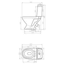Унитаз-компакт Della Glance Super Plus 45 цветочный мотив