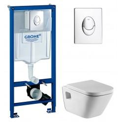 Комплект Инсталляция Grohe Rapid SL 38721001 3 в 1 с кнопкой смыва + Чаша для унитаза Roca Gap 34647L000 + Крышка-сиденье Roca Gap с микролифтом