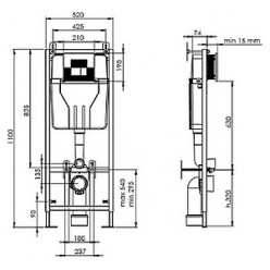Комплект Serel Smart SM12+SAN85 Beta slim подвесной унитаз + инсталляция + кнопка