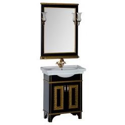 Мебель для ванной Aquanet Валенса 70 черный краколет/золото
