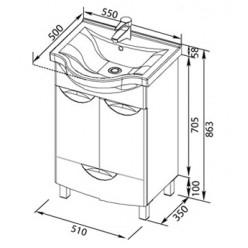 Мебель для ванной Aquanet Асти 55 М черная