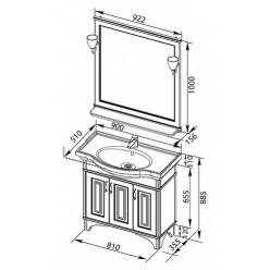 Мебель для ванной Aquanet Валенса 90 черный краколет/серебро