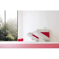 Биде подвесное ArtCeram LaFontana LFB001 белое с красным