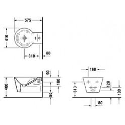 Биде подвесное Duravit Starck 1 02741500001-WG антигрязевое покрытие