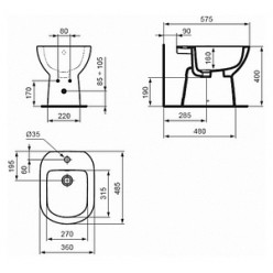 Биде напольное Ideal Standard Tempo T510201