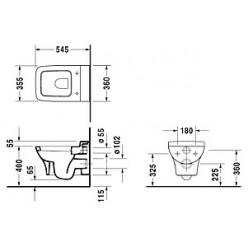 Унитаз подвесной Duravit Puravida 22190900001-WG антигрязевое покрытие