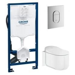 Комплект Унитаз подвесной Grohe Sensia Arena 39354SH0 с феном + Инсталляция Grohe Rapid SL Sensia 39112001 + Кнопка смыва Grohe