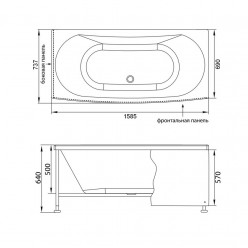 Акриловая гидромассажная ванна (форсунки Шампань) Изабелла (Izabella) 160×75