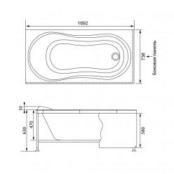 Акриловая гидромассажная ванна (форсунки Шампань) Корсика (Corsica) 170×75