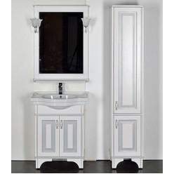 Шкаф-пенал Aquanet Валенса белый краколет/серебро