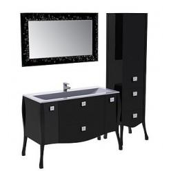 Шкаф-пенал Aquanet Мадонна черный с кристаллами Swarovski